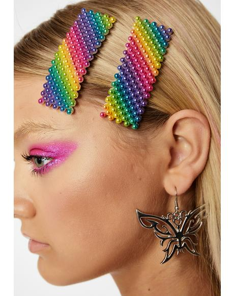 Pearlescent Prism Hair Clips