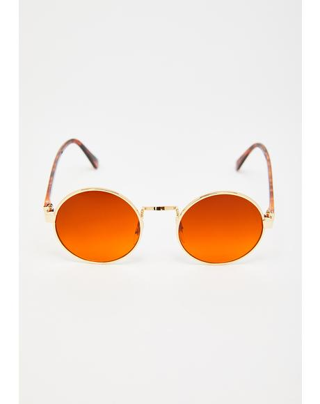 Gold Block Rounders Sunglasses