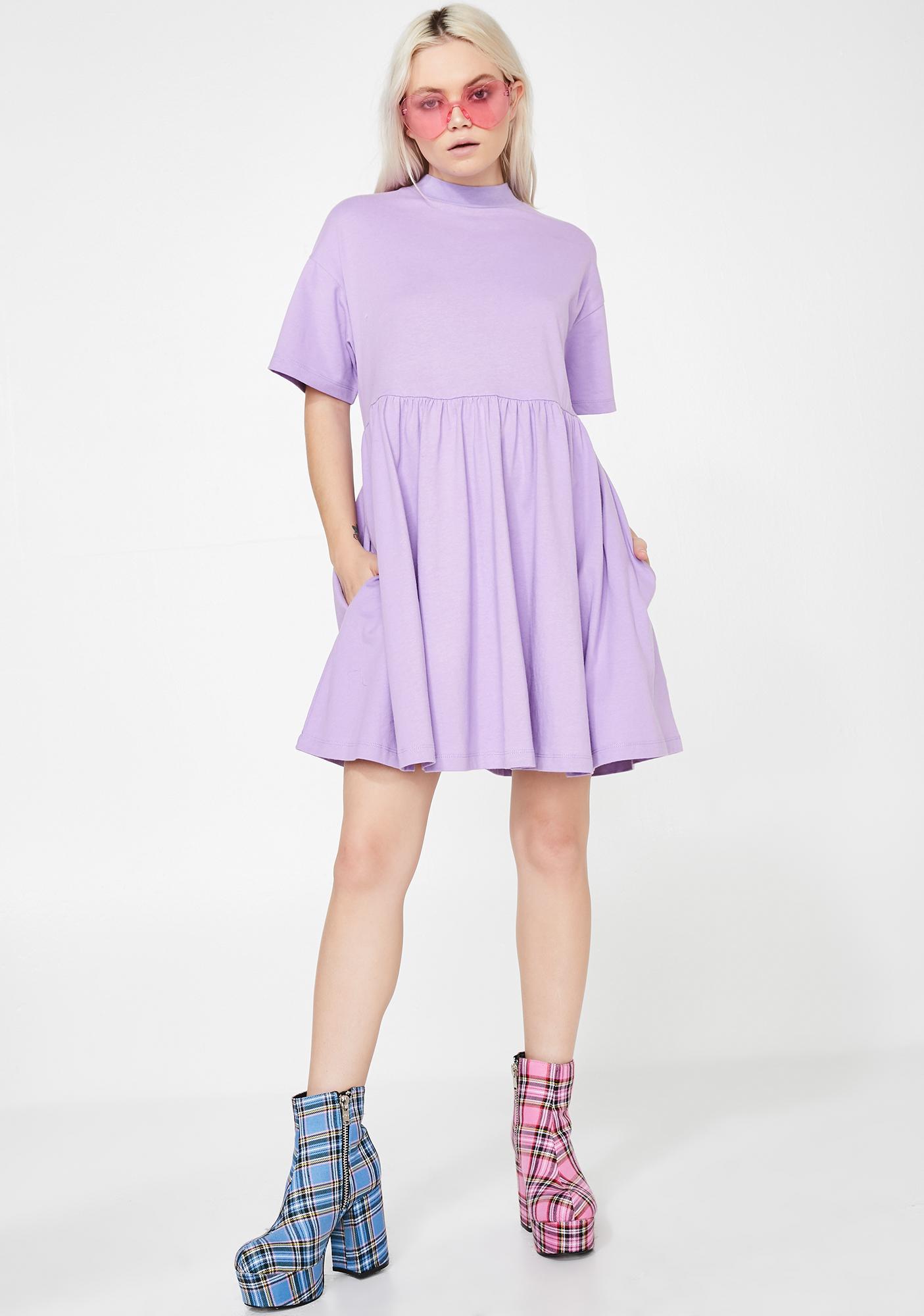 Lazy Oaf LO Lilac Short Sleeve Sally Dress