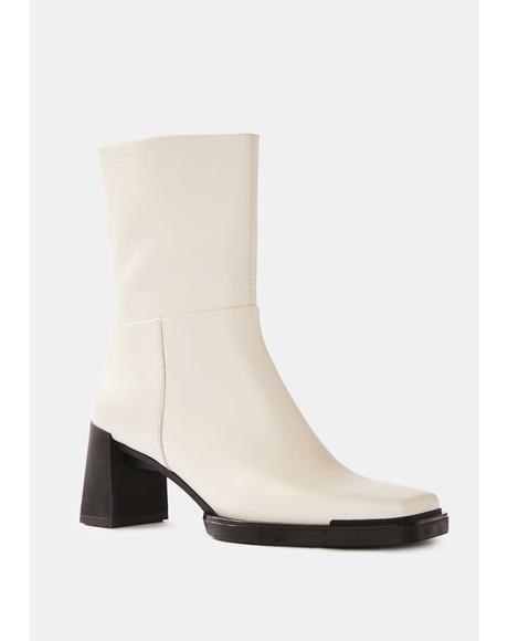 White Edwina Leather Boots