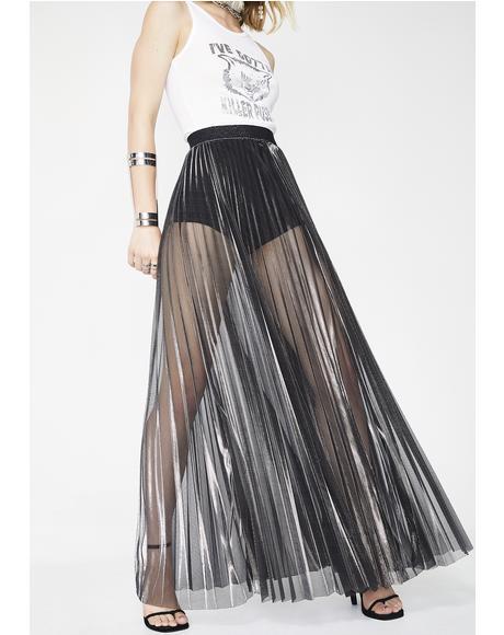 Whimsical Manner Pleated Maxi Skirt