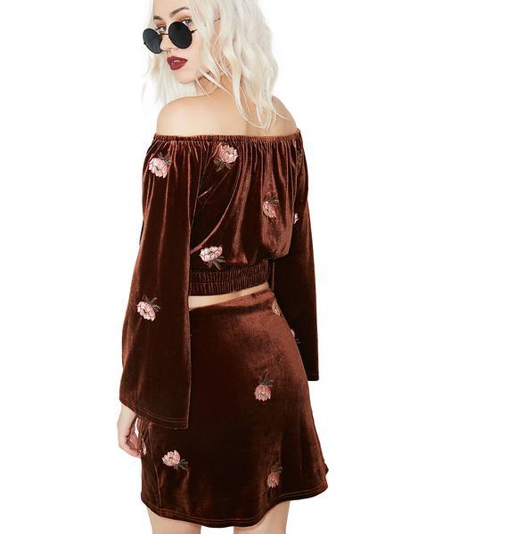 World Peace Velvet Skirt