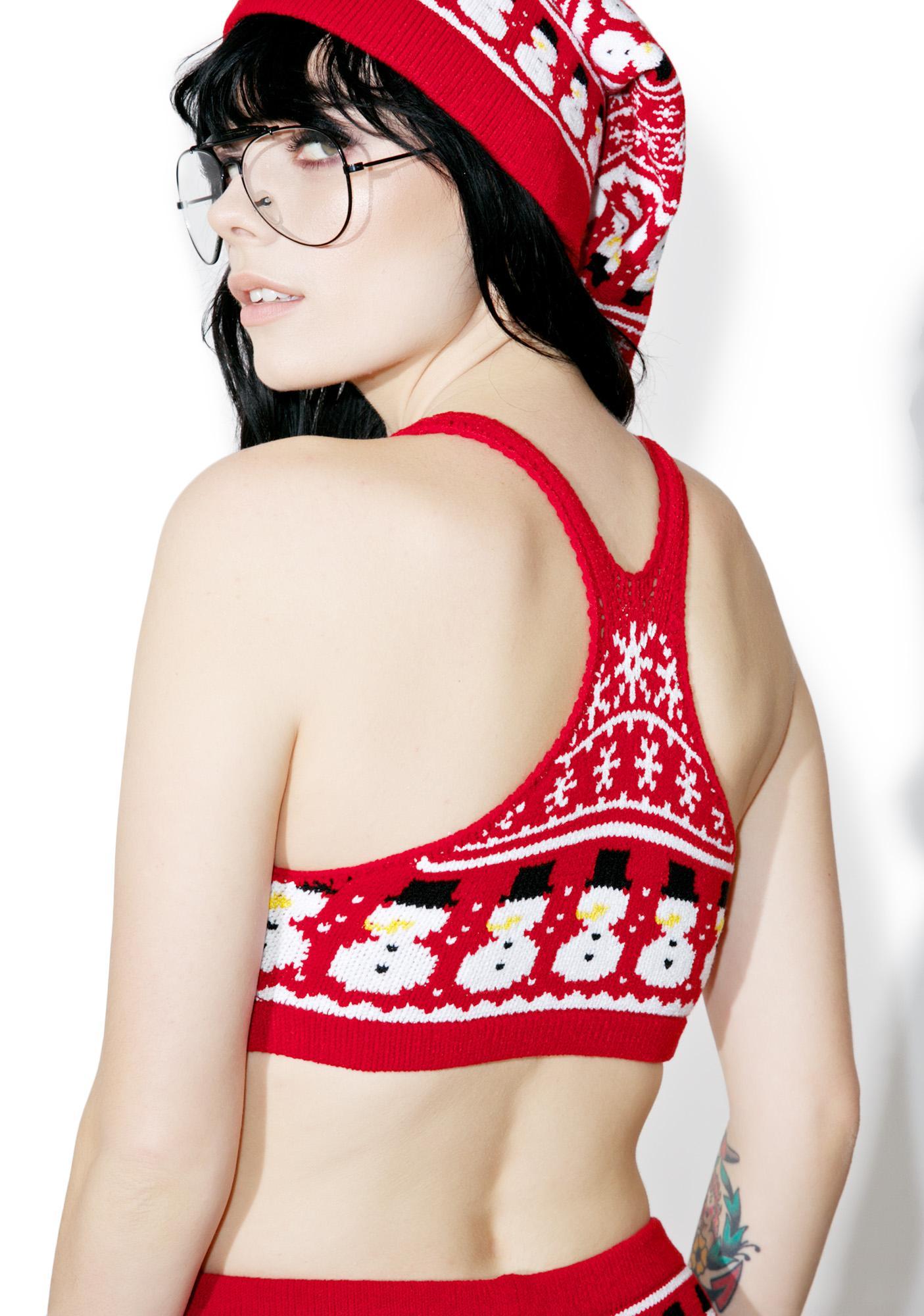 Knitty Kitty Snowman Knit Bralette