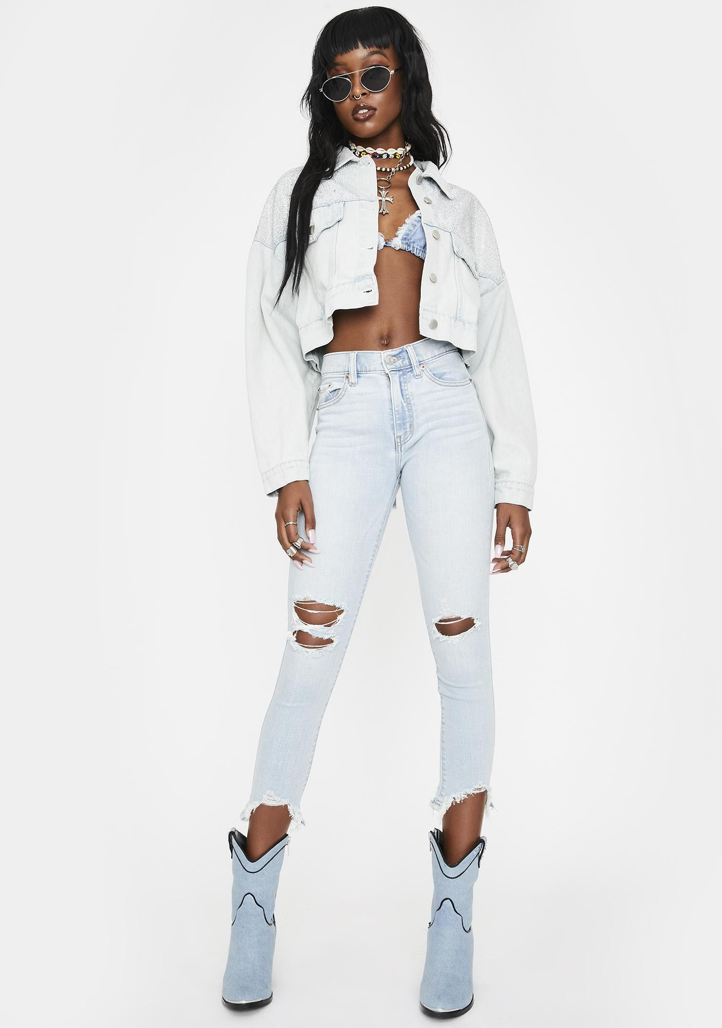 AZALEA WANG Miloh Rhinestone Cropped Denim Jacket