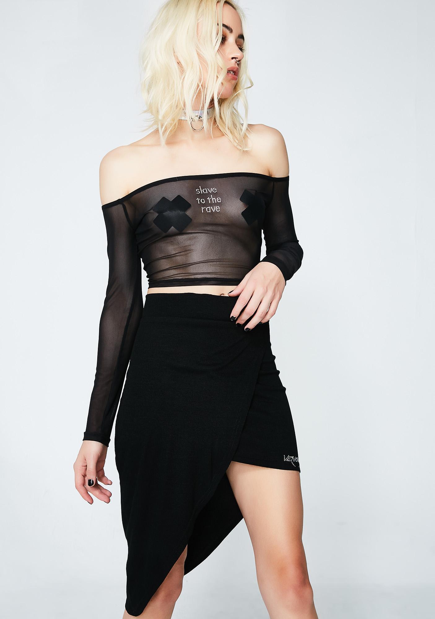 Venomiss NYC Baby Crystal Logo Wraparound Skirt