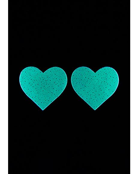 White Glow In The Dark Heart Pasties