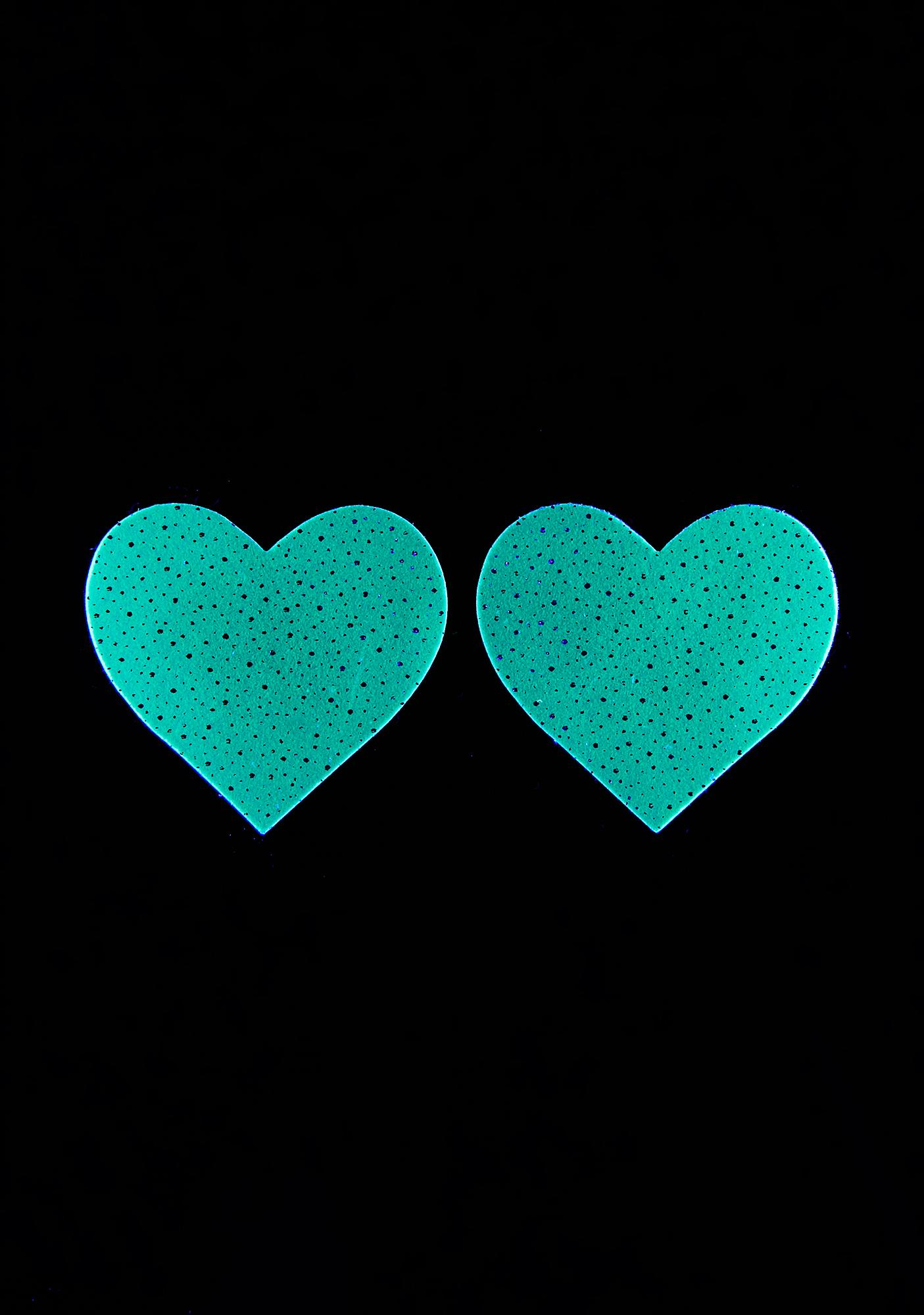 Neva Nude White Glow In The Dark Heart Pasties