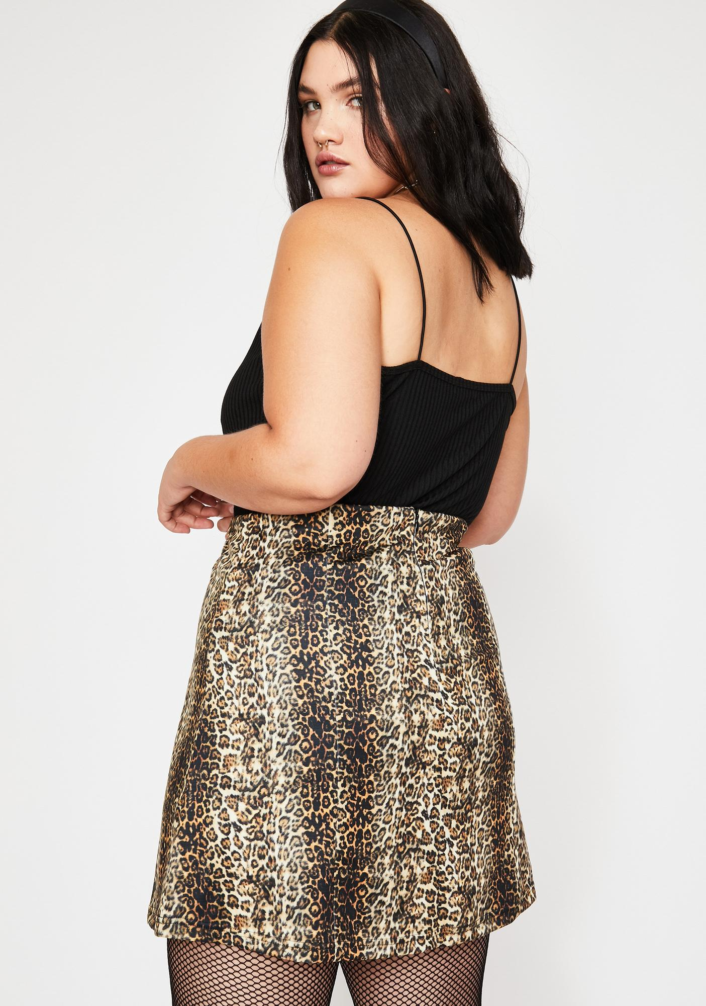 Current Mood Fierce Savannah Sav Leopard Skirt