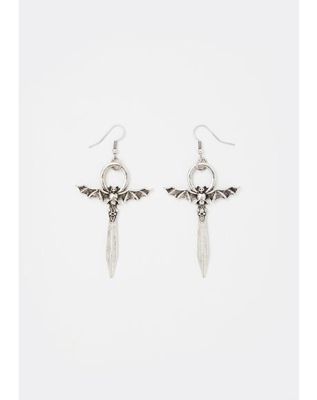 Blood Fiend Bat Earrings