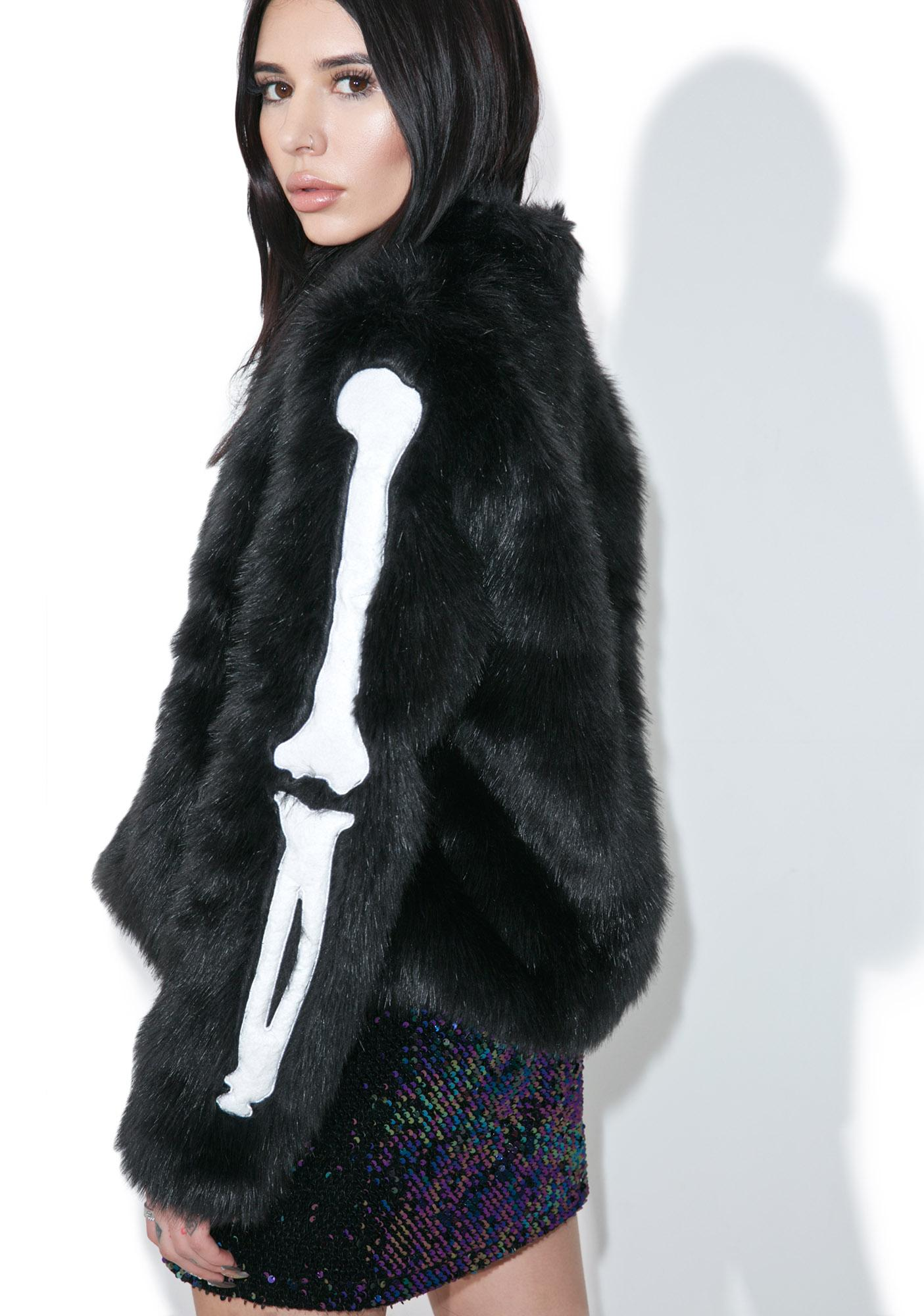 Iron Fist Bone In Faux Fur Jacket