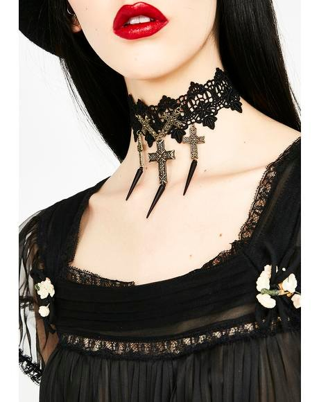 Crucified Lover Lace Choker
