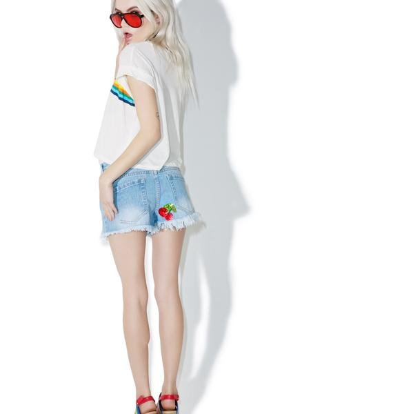 Rad and Refined Cherry Denim Shorts