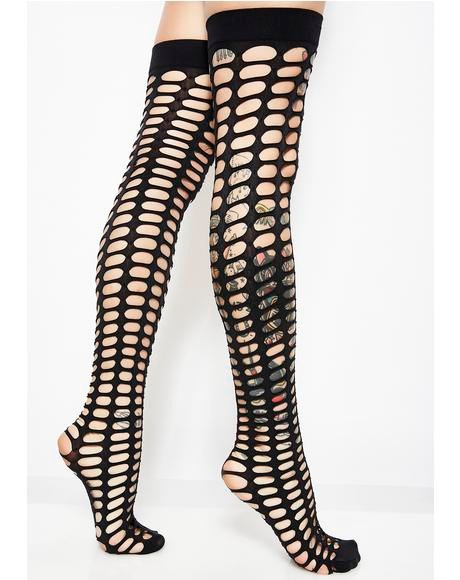Itz A Trap Oval Net Thigh Highs
