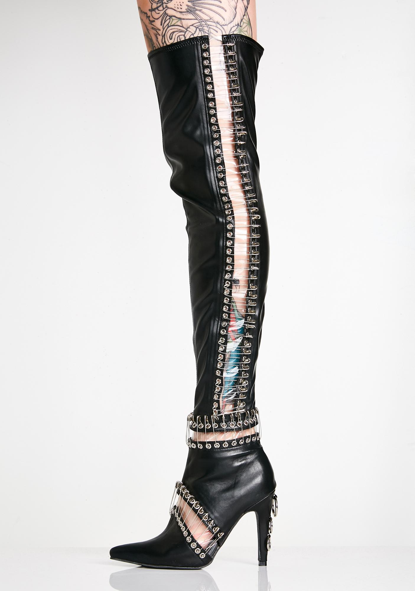 Current Mood Queen Pin Thigh High Boots