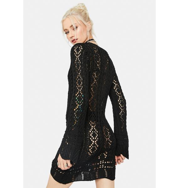 Coming Soon Loose Crochet Mini Dress