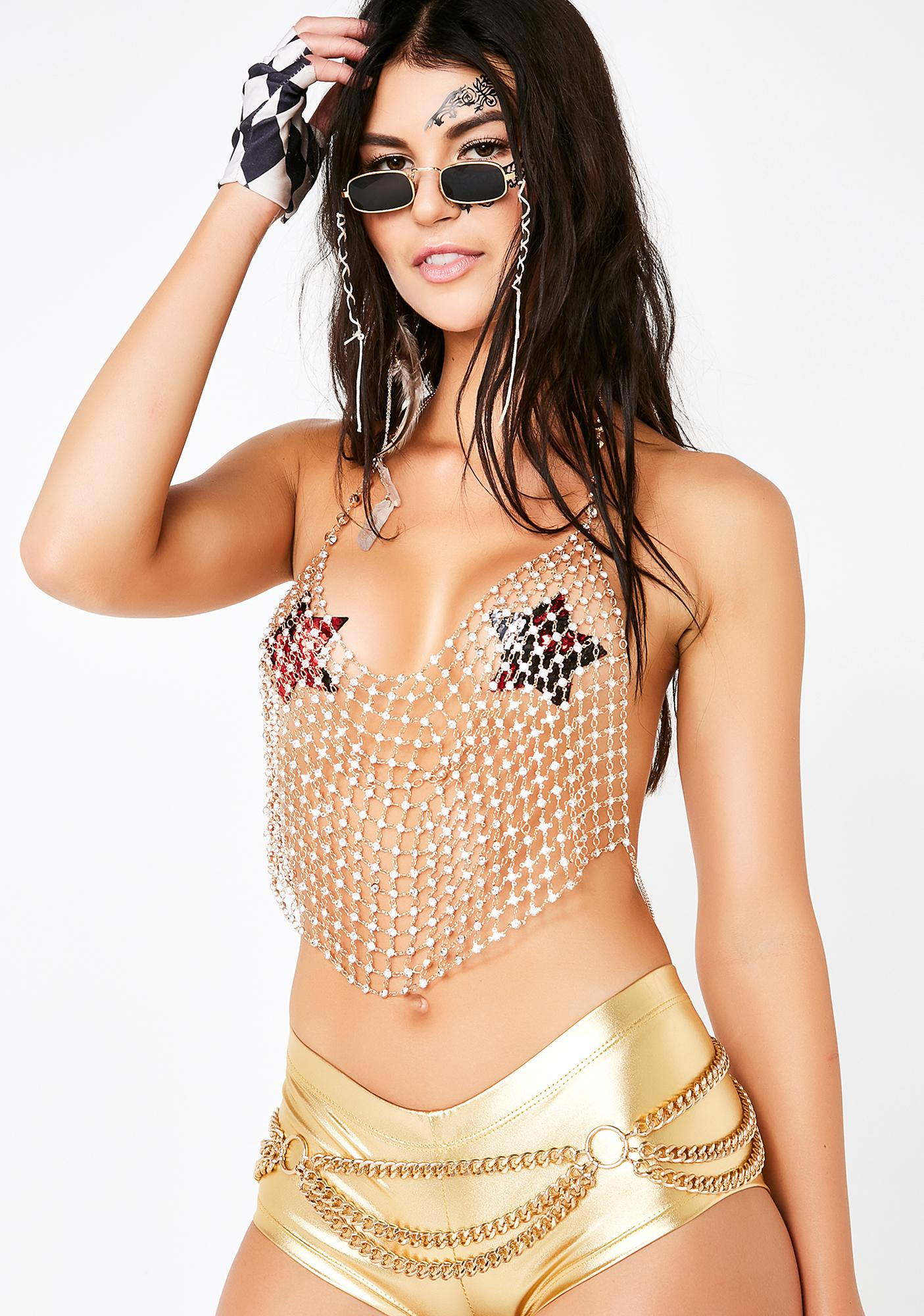 Golden Shimmy Rhinestone Chain Top