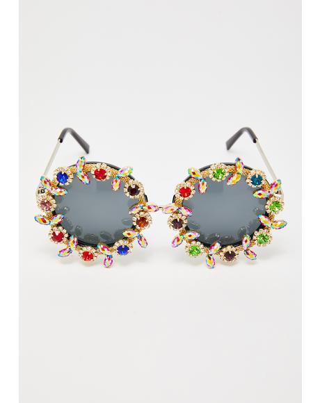 Xpensive Habits Rhinestone Sunglasses