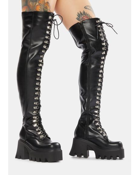 Dare Me Thigh High Chunky Boots
