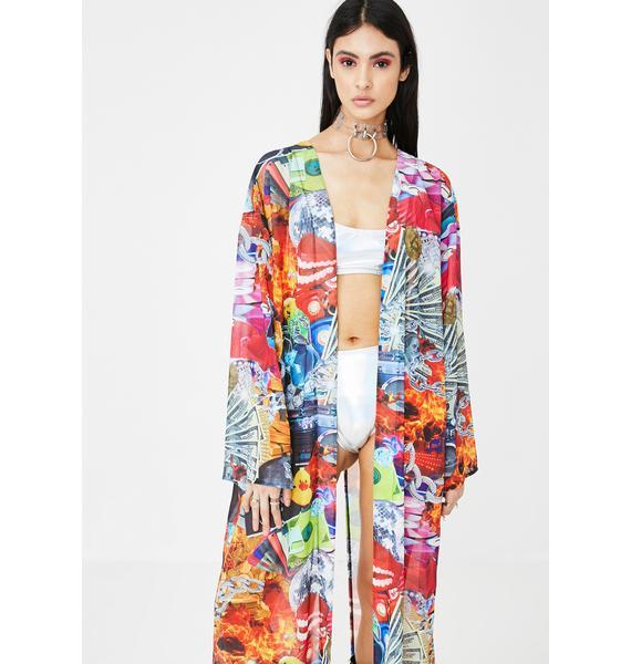 Jaded London Collage Print Flared Sleeve Kimono
