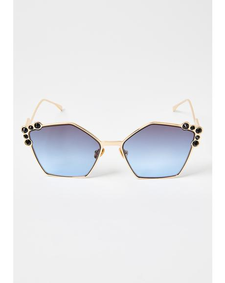 Throwin Shapes Rhinestone Sunglasses