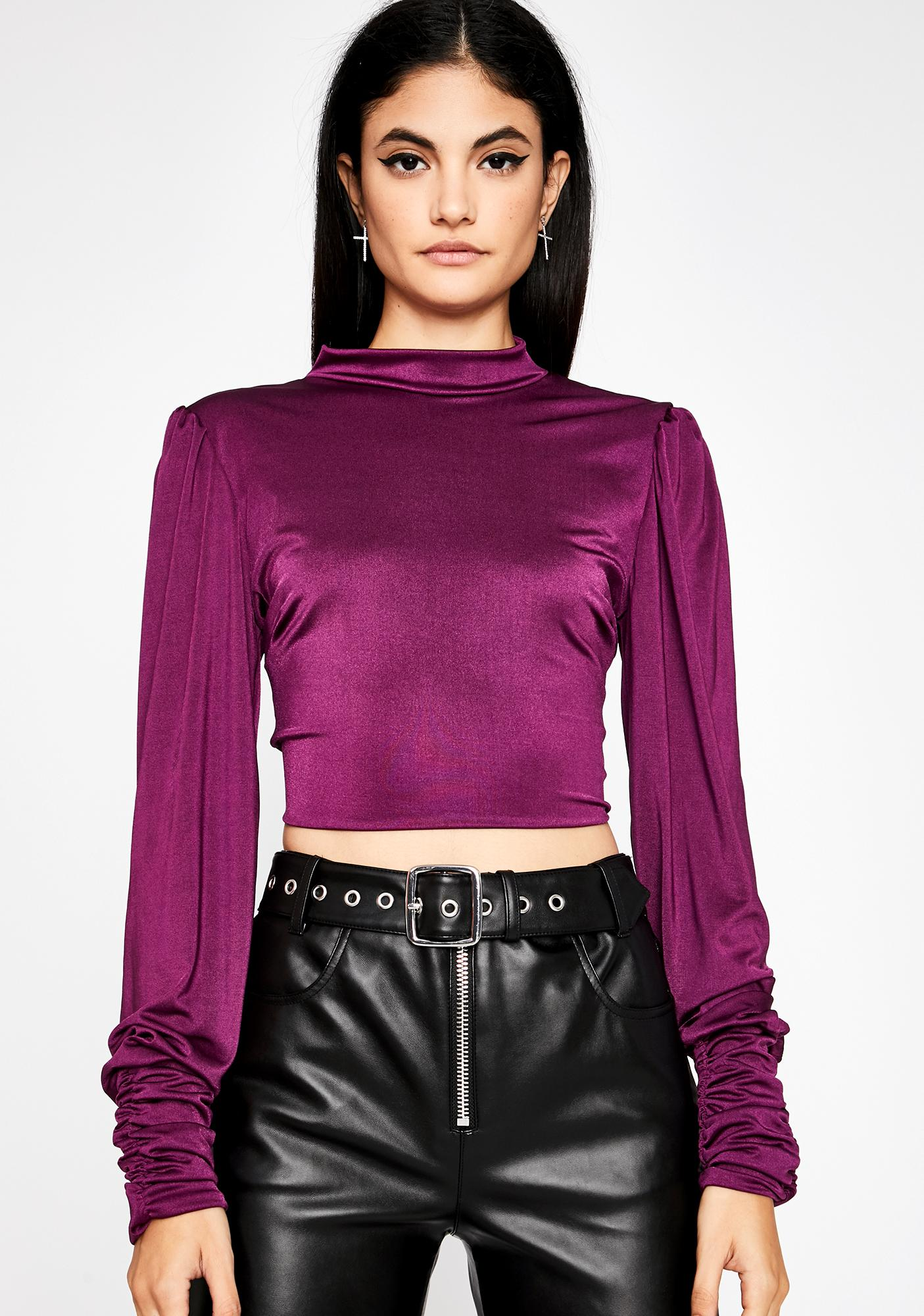 Plum Show Don't Tell Turtleneck Top