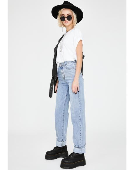 Extra Long Straight Leg Denim Jeans
