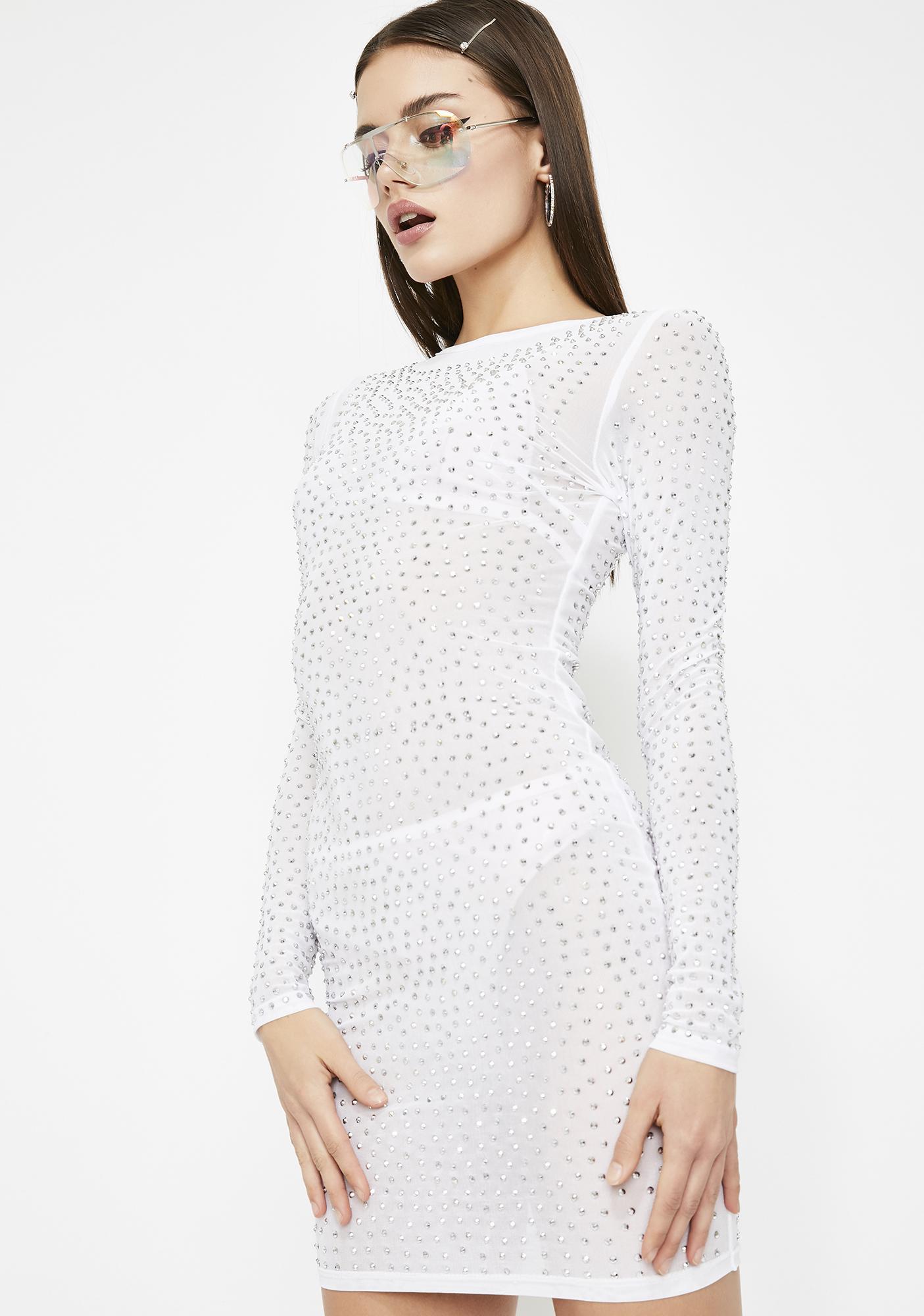 e30c41207d5 Long Sleeve Bodycon Mini Rhinestone Dress