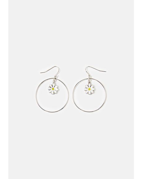 Daisy Loves Flower Hoop Dangle Earrings