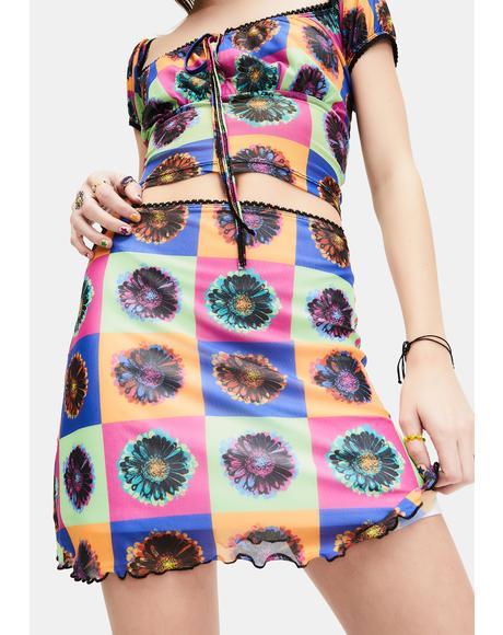 Neo-Psychedelic Mesh Mini Skirt