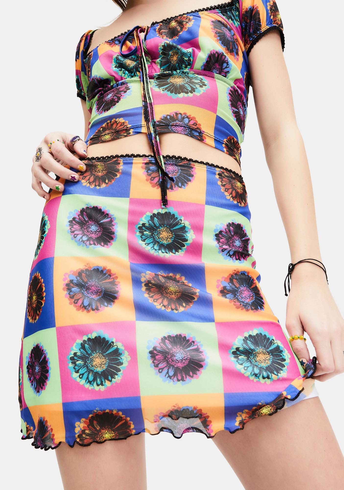 dELiA*s by Dolls Kill Neo-Psychedelic Mesh Mini Skirt