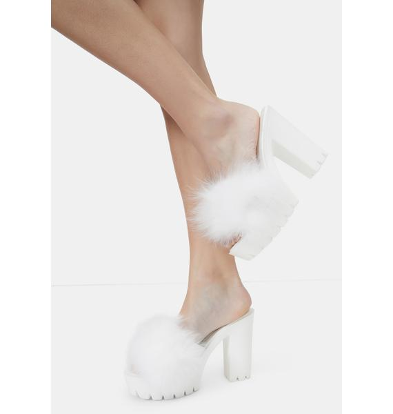 Bliss Totally Buggin Feather Platform Heels