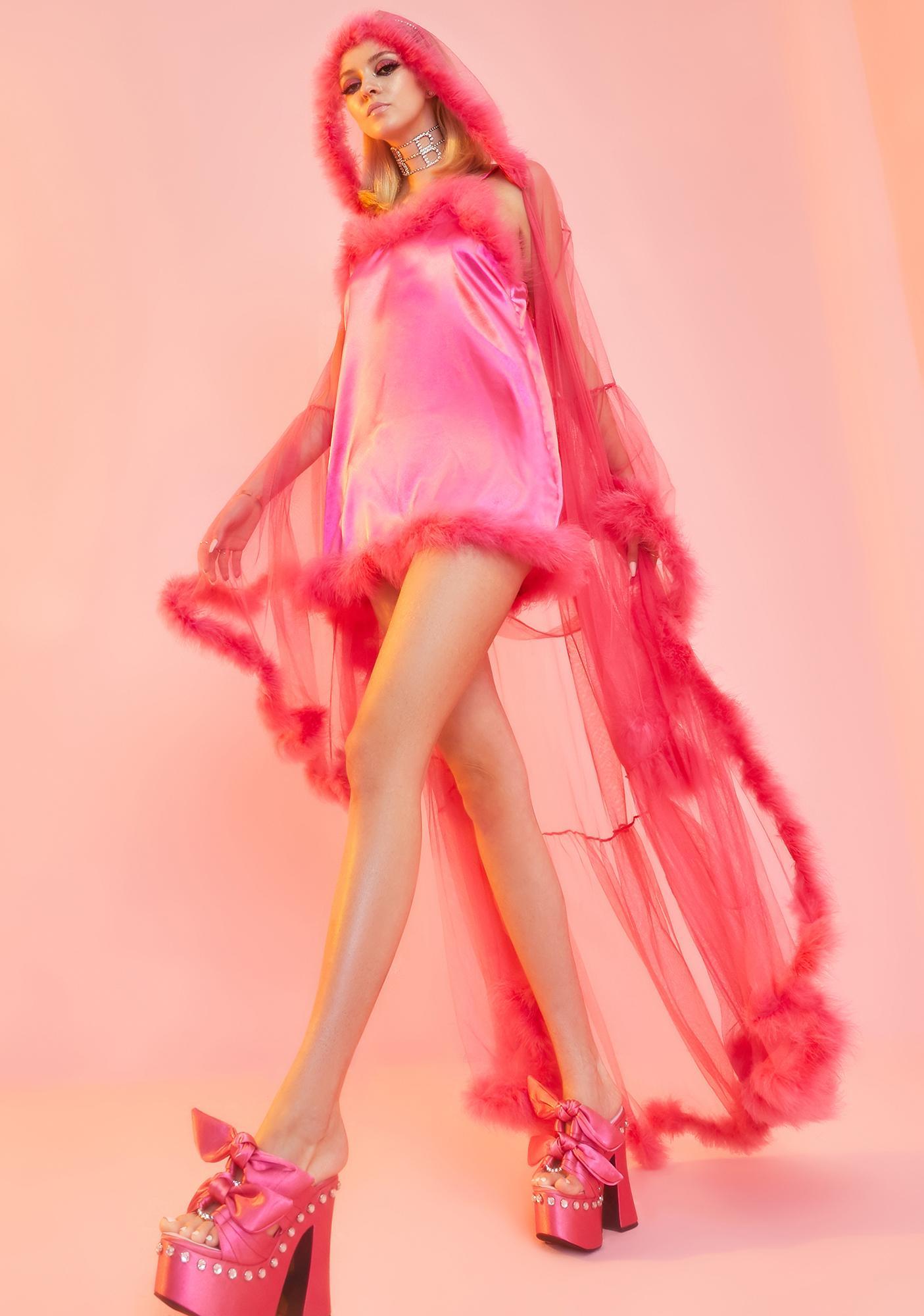 Sugar Thrillz Rose Pixie Luxxx Feathered Robe