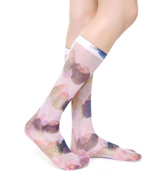 Coveted Society Doll Heads Sheer Socks