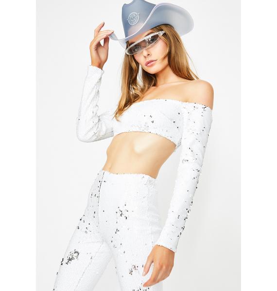 Club Exx Miss Primetime Sequin Crop Top