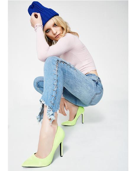 Zig Zag Pierced Jeans