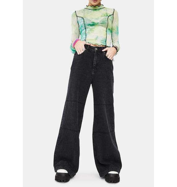 The Ragged Priest Charcoal Grueler Wide Leg Jeans