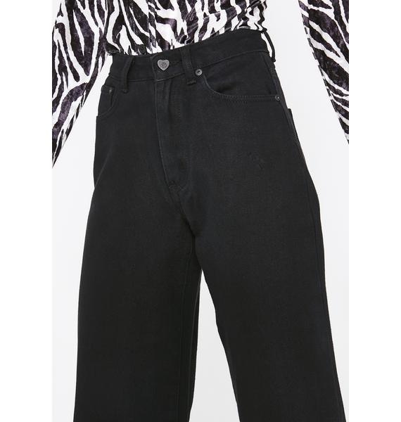 Lazy Oaf LO Black Wide Leg Jeans