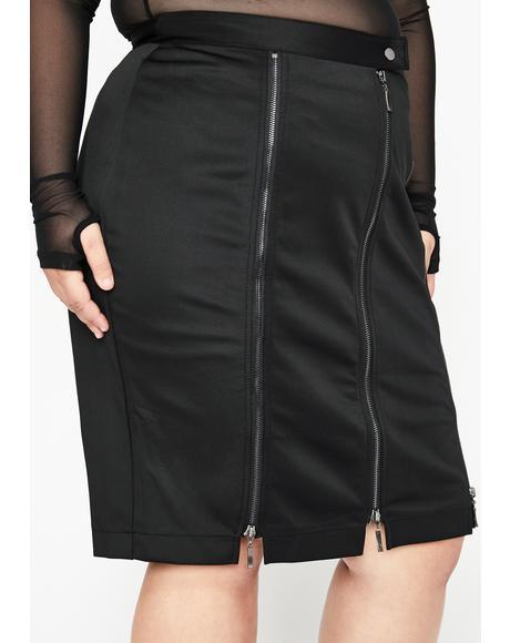 Baddie Trial N' Error Zipper Skirt