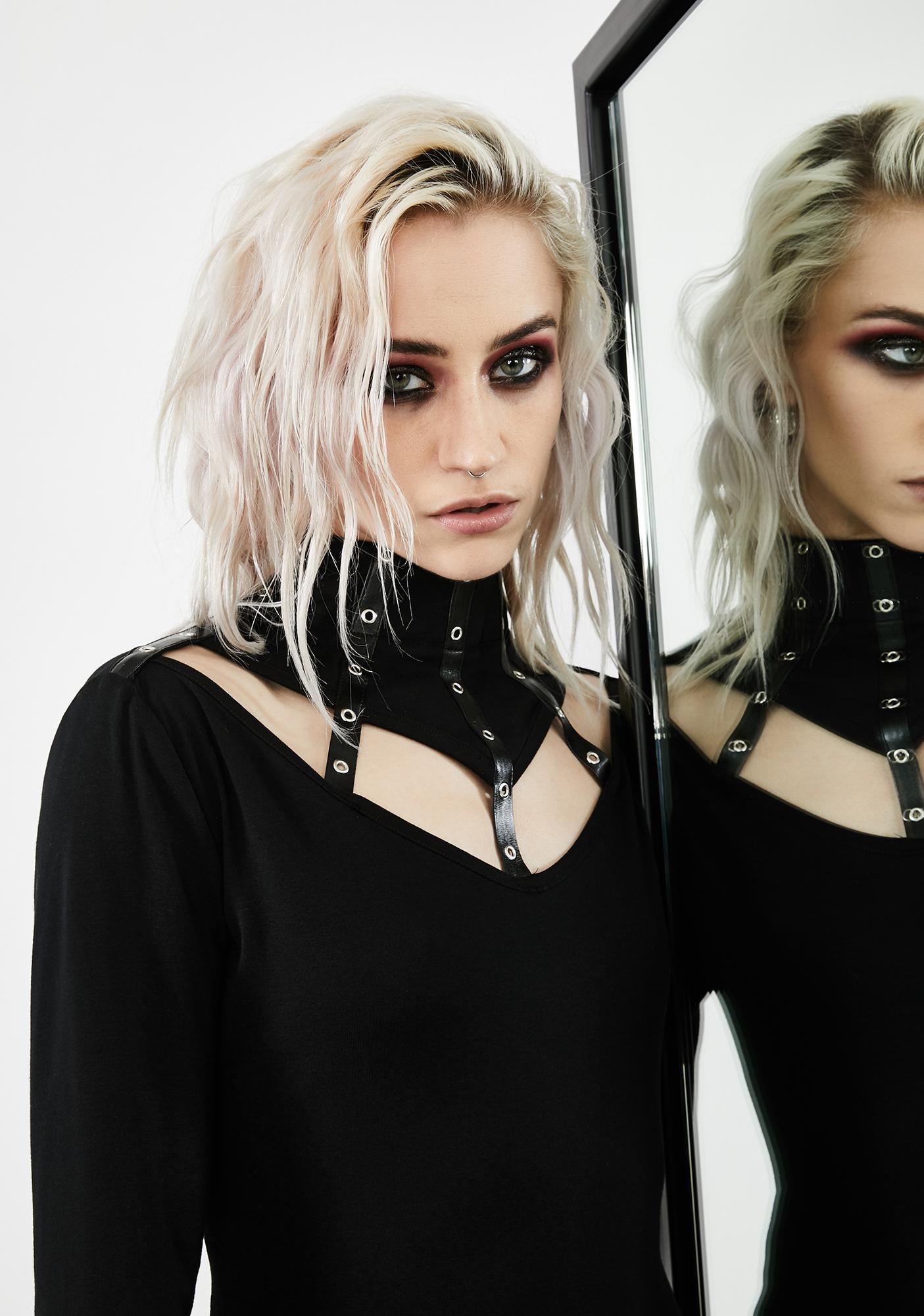 Dark In Love Eyelet Collar Long Sleeve Top