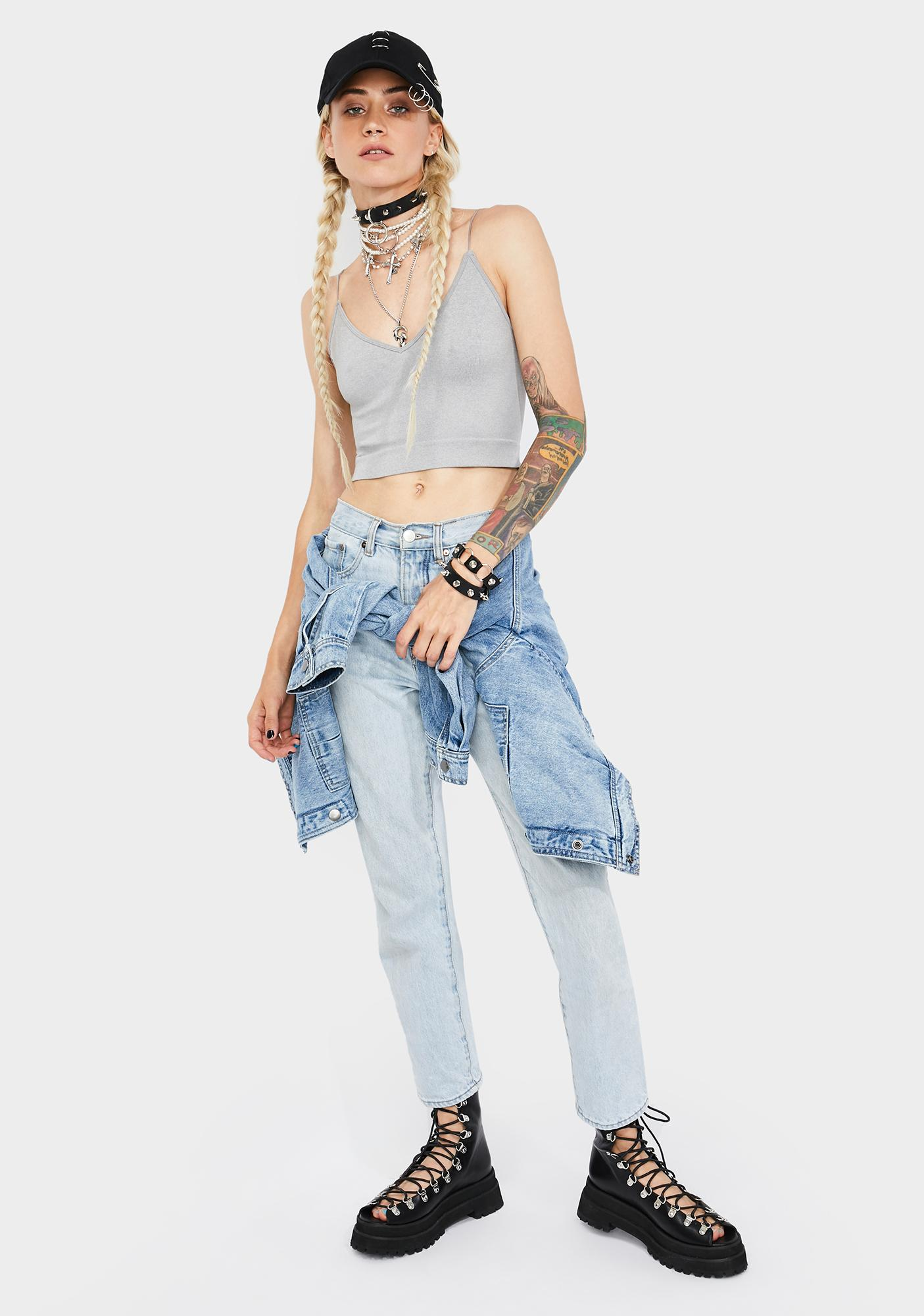 Free People Heather Grey Ribbed V-Neck Brami Top