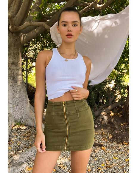 Cadet Green Virgo Mini Skirt