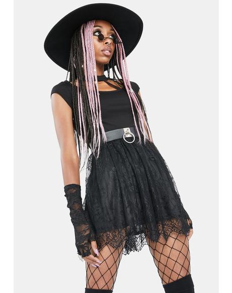 Cutout Choker Collar Lace Mini Dress