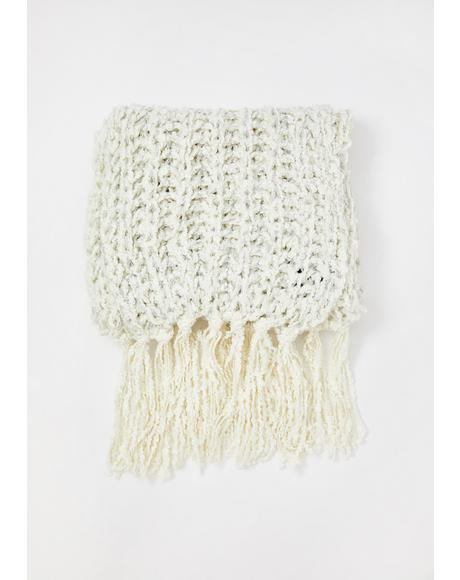 Cream Cozy Memories Knit Scarf