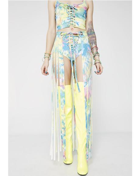 Tie Dye Fringe Gypsy Skirt