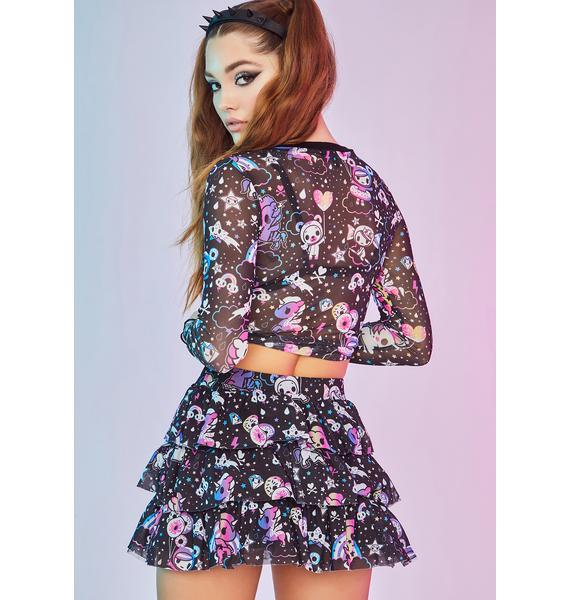 Dolls Kill x tokidoki Glazed And Unphased Ruffle Mini Skirt