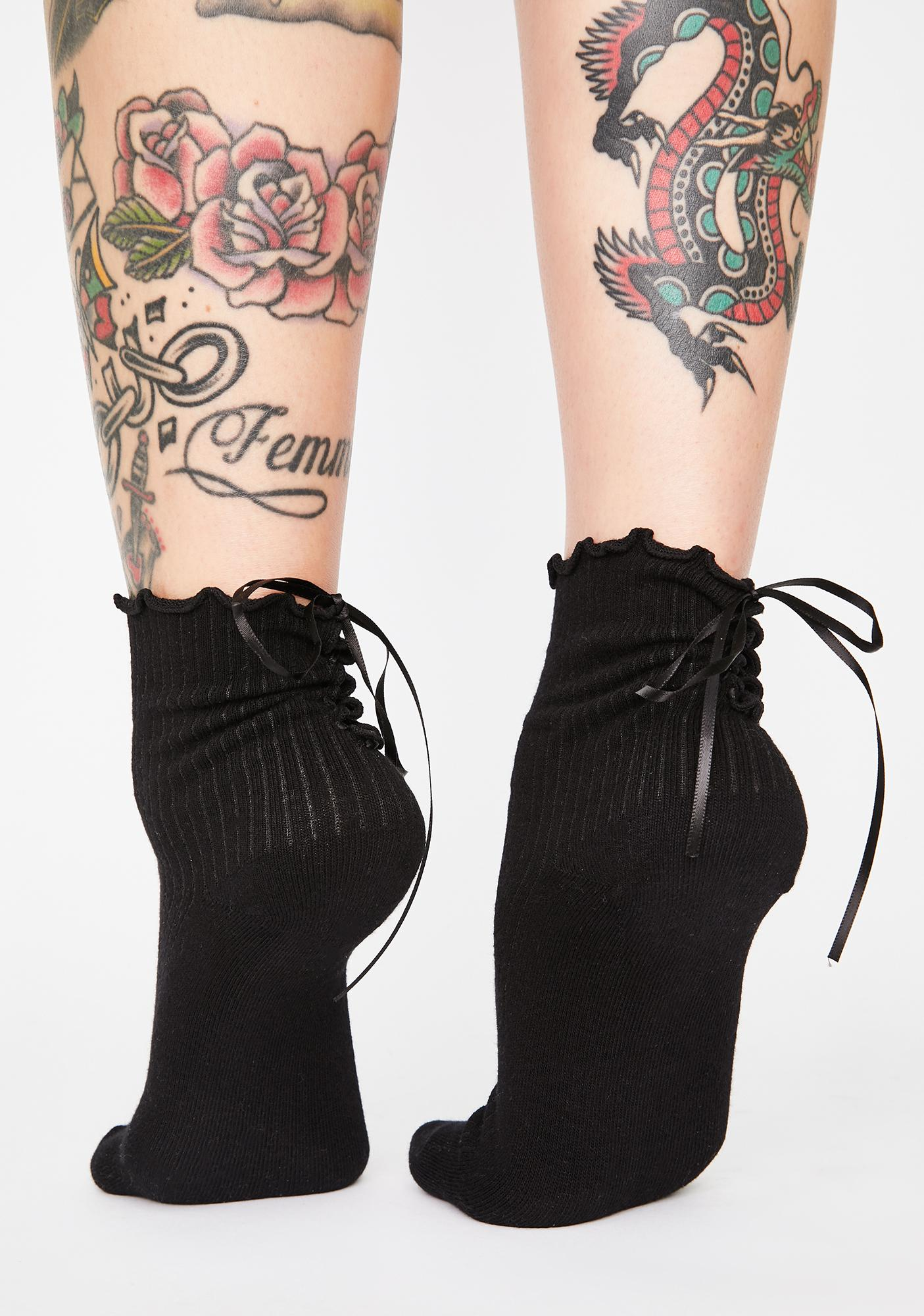 Wicked Teatime Gossip Lace Up Socks