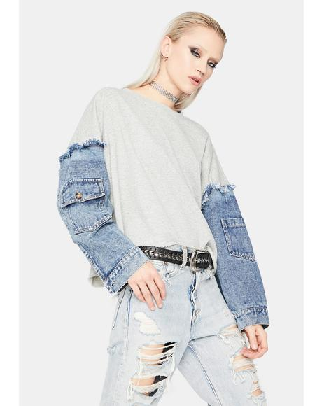 Say My Name Denim Sleeve Sweater