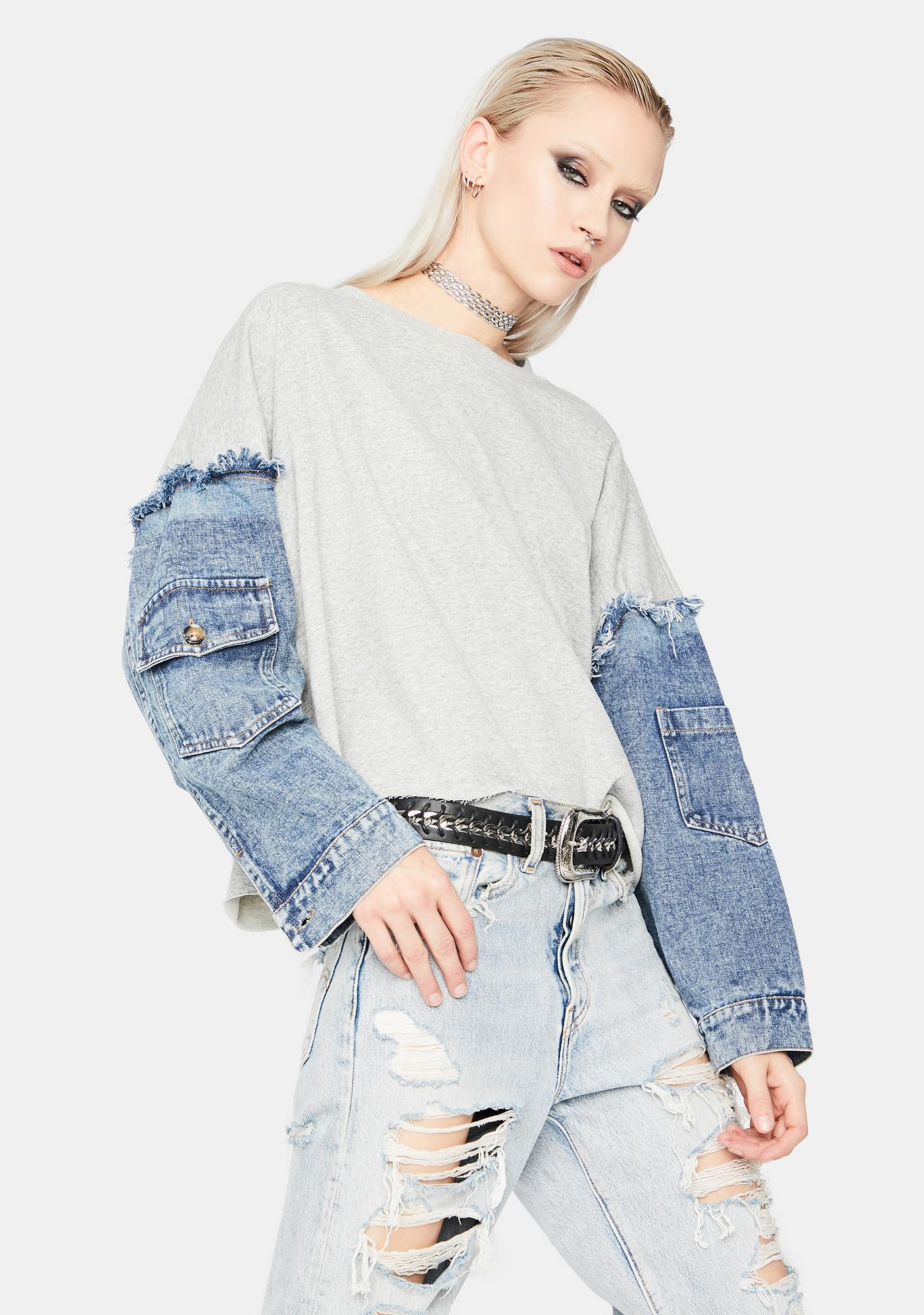 Say My Name Denim Sleeve Sweater