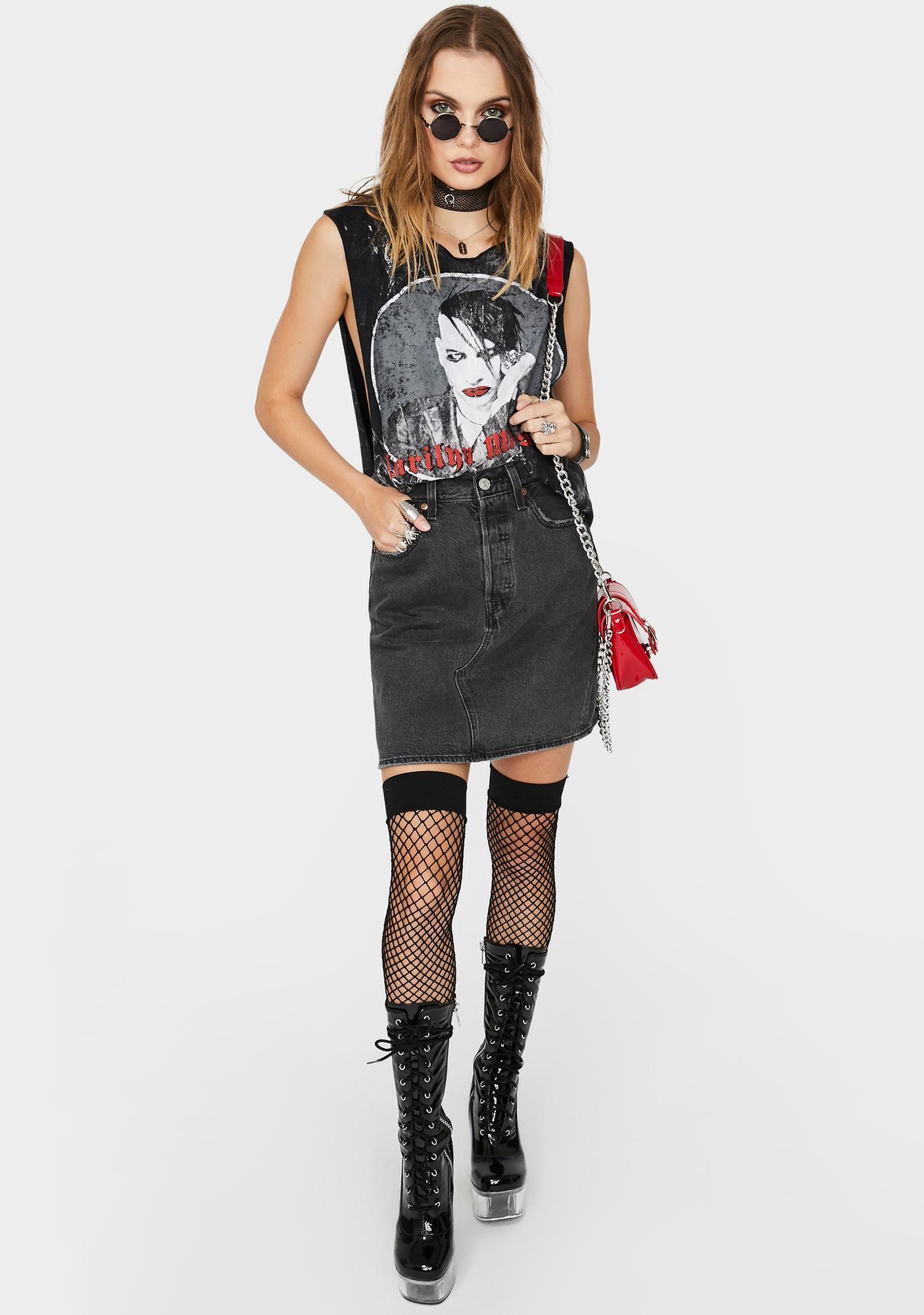 Levis Iconic Deconstructed Denim Mini Skirt