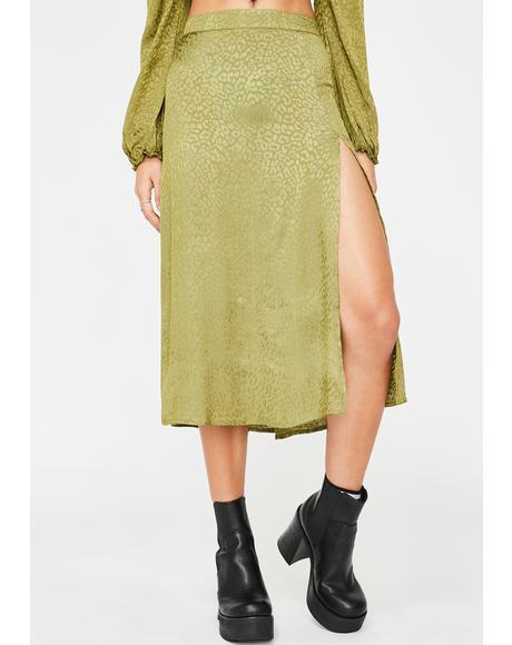 Khaki Cheetah Saika Skirt